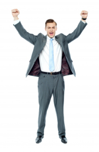 Arms Raised Businessman Standing by stockimages
